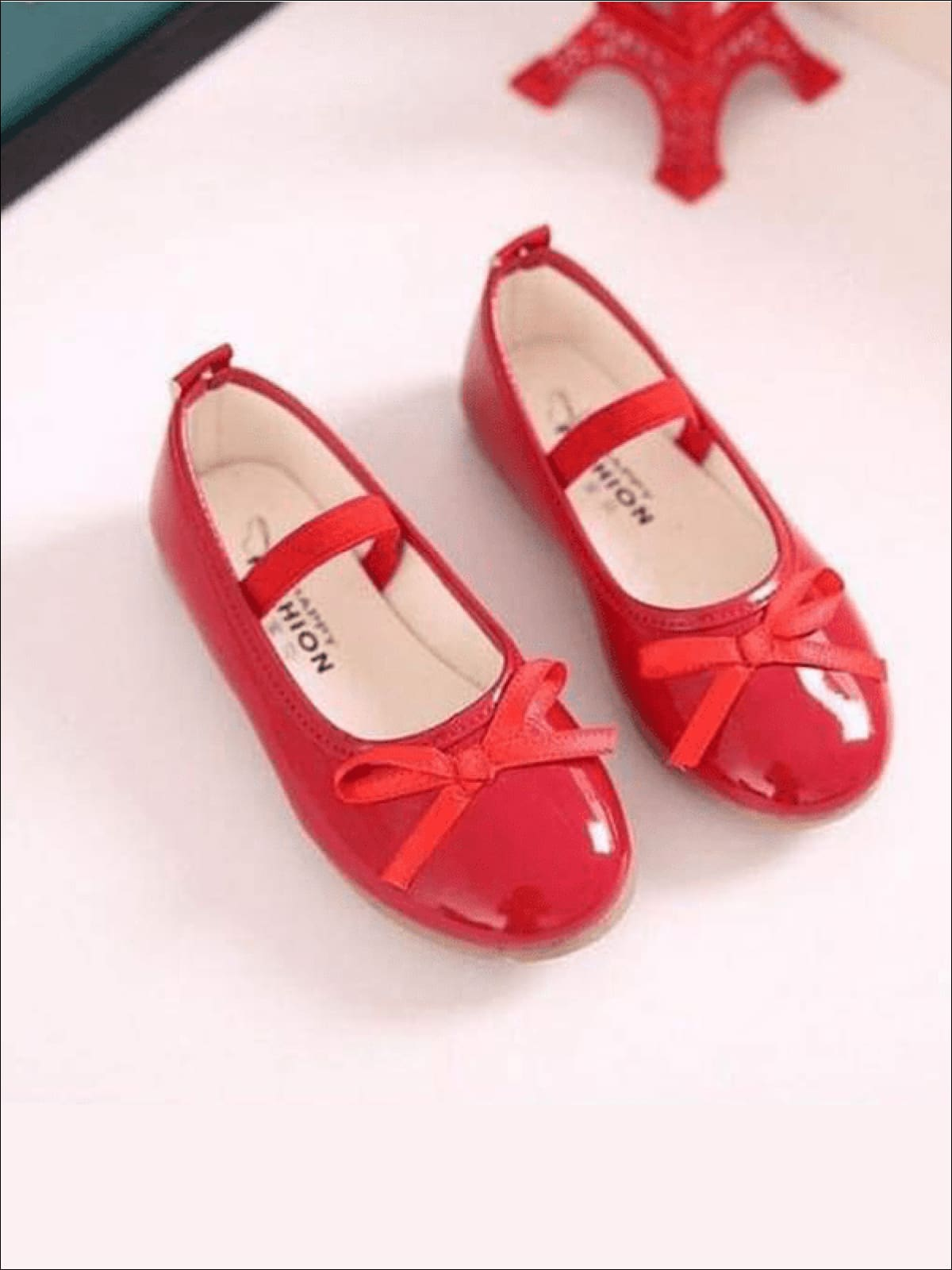 Girls Red Bow Patent Ballet Flats Shoes