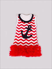 Girls Red Chevron Anchor Dress - Girls Spring Casual Dress