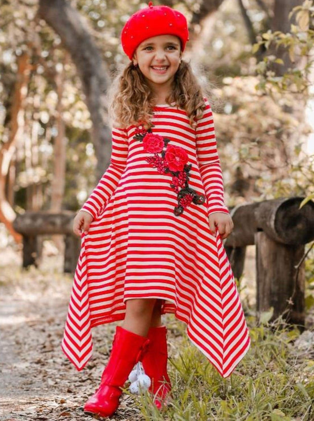 Girls Red & Creme Candy Cane Stripe Sidetail Dress with Rose Applique - Girls Fall Casual Dress