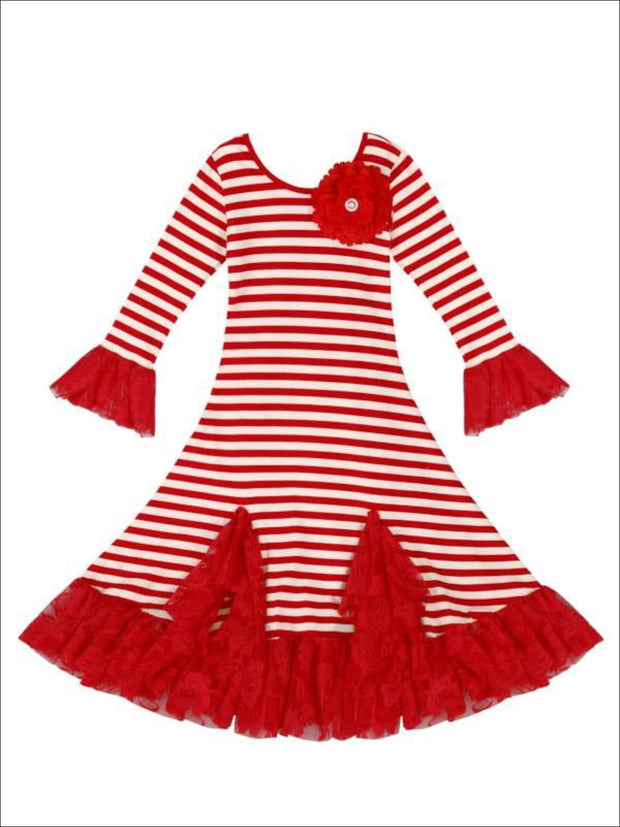 Girls Red & Creme Candy Cane Striped Twirl Dress with Lace Ruffles - Fall Low Stock