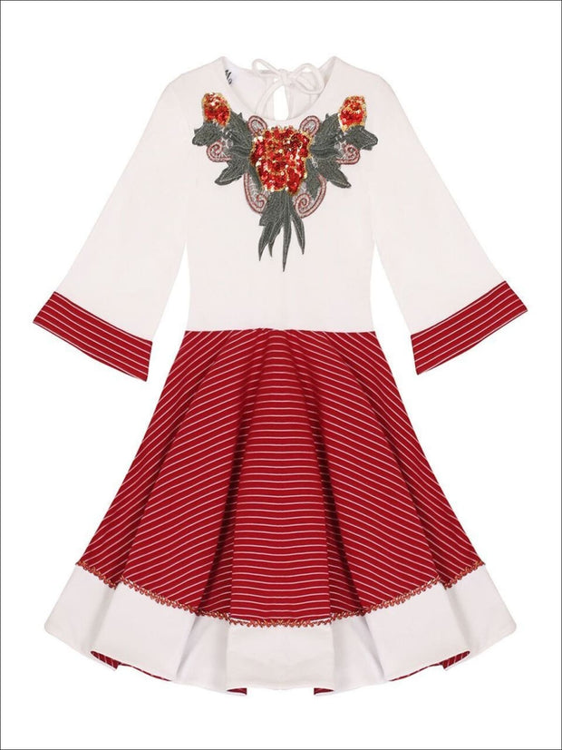 Girls Red & Creme Circular Skirt 3/4 Sleeve Dress - Girls Fall Dressy Dress