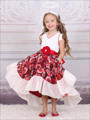 Girls Red & Creme Floral V-Neck Hi-Lo Party Dress - Girls Fall Dressy Dress