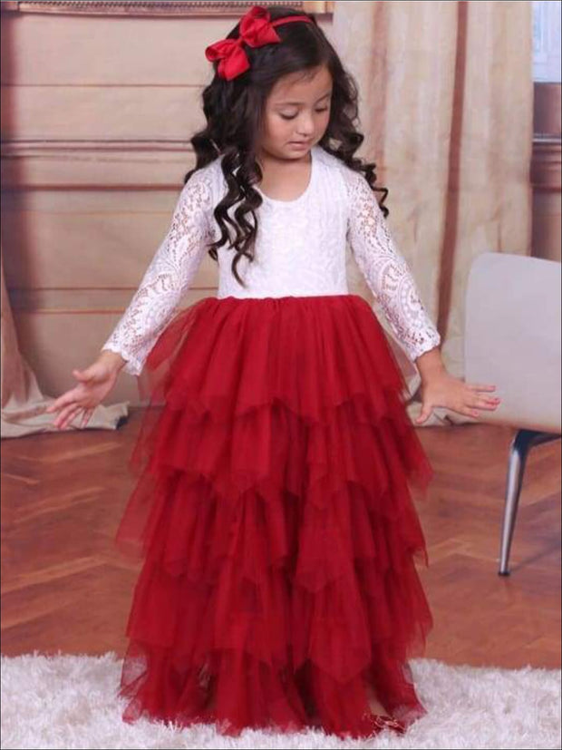 Girls Red & Creme Long Maxi Lace Cascading Ruffles Holiday Dress - Girls Fall Dressy Dress