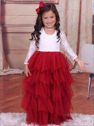 Girls Red & Creme Long Maxi Lace Cascading Ruffles Holiday Dress - Red/Creme / 2T - Girls Fall Dressy Dress