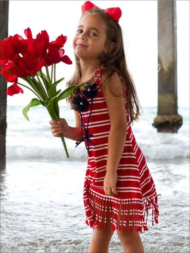 Girls Red & Crème Stripe Rosette Fringe Tunic Dress - Red & Crème / 3T - Girls Spring Casual Dress