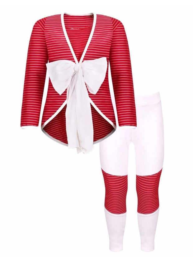 Girls Red & Creme Tuxedo Jacket with Patch Pencil Pants - Red/Creme / 4T/5Y - Girls Fall Dressy Set
