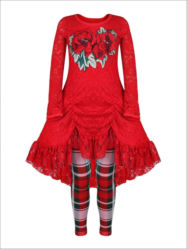 Girls Red Drawstring Lace Tunic & Plaid Leggings Set - Girls Fall Dressy Set