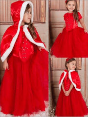 Girls Red Dress & Matching Cape Set - Girls Fall Dressy Dress