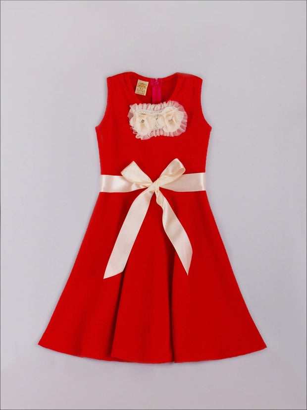 Girls Red Fancy Appliqué Skater Dress - Fall Low Stock