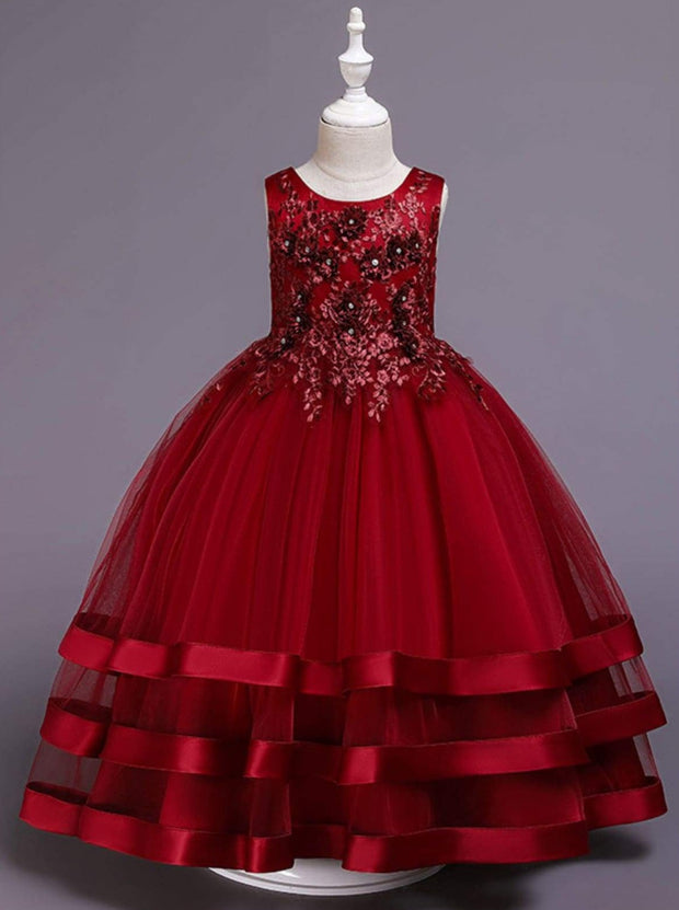 Girls Red Floral Applique Tulle Maxi Holiday Dress - Red / 3T/4T - Girls Fall Dressy Dress