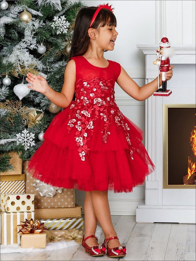 Girls Red Floral Embroidered Tiered Holiday Dressy Dress - Girls Fall Dressy Dress