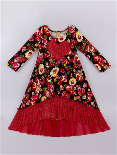 Girls Red Floral Lace Hi-Lo Dress - Girls Twiggy Dress