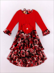 Girls Red Floral Ruffle Hi-Low Dress - Fall Low Stock