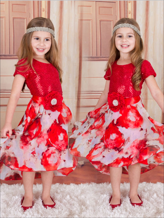 Girls Red Floral & Sequin Cap Sleeve Dress w/ Flower Belt - Fall Low Stock