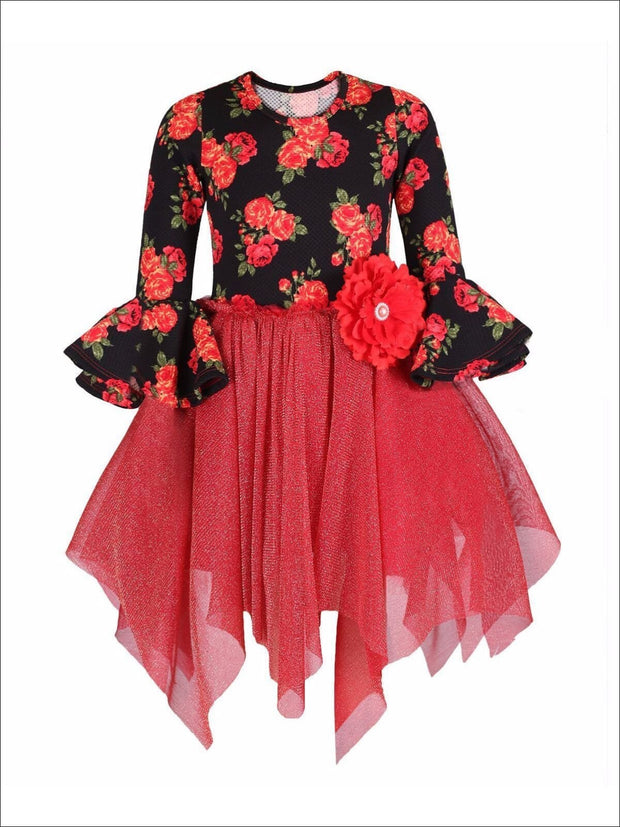 Girls Red Floral Tutu Skirt Flare Sleeve Dress - Girls Fall Dressy Dress