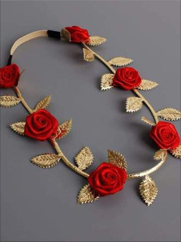 Girls Red Flower Headband - accessories