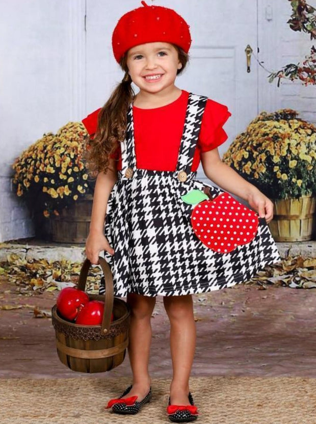 Girls Red Flutter Sleeve Top & Apple Applique Houndstooth Overall Dress Set - Girls 1st Day of School