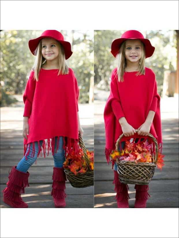 Girls Red Fringe Poncho - Fall Low Stock