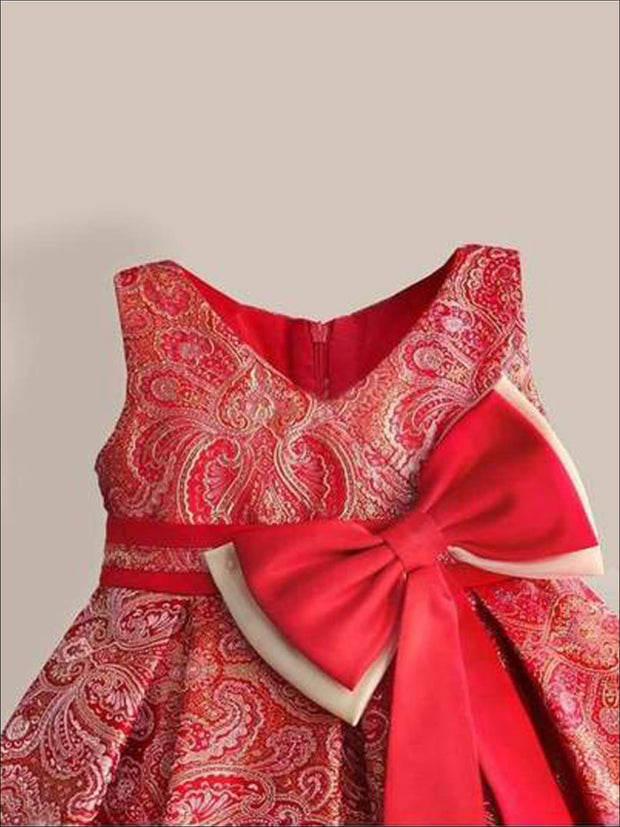 Girls Red & Gold Paisley Print Party Dress with Large Bow - Girls Dresses