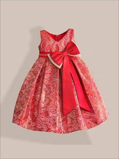 Girls Red & Gold Paisley Print Party Dress with Large Bow - Red & Gold / 3T - Girls Dresses