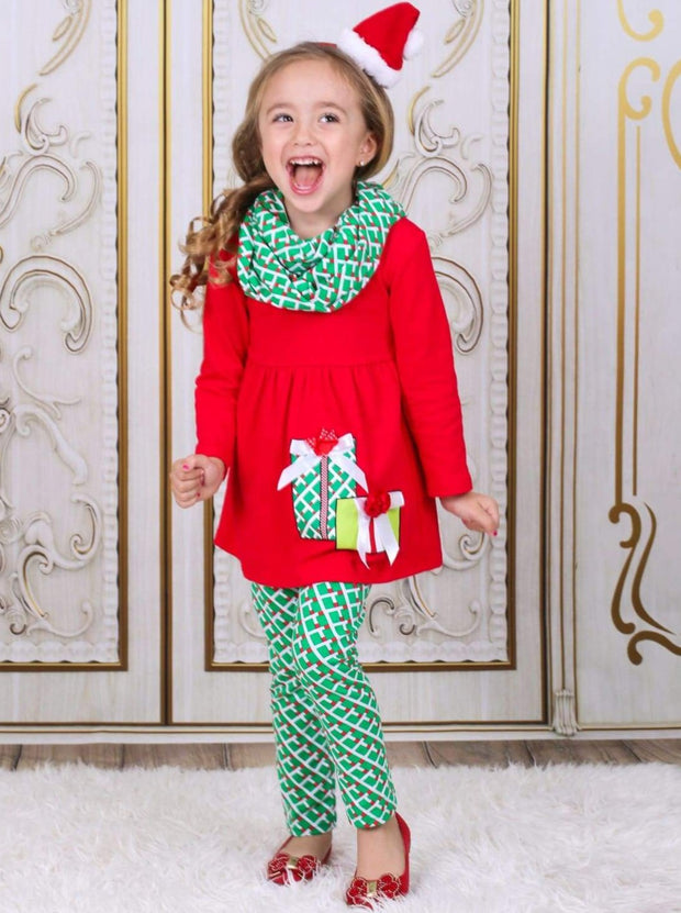 Girls Red & Green Christmas Present Tunic Leggings & Scarf Set - Girls Christmas Set
