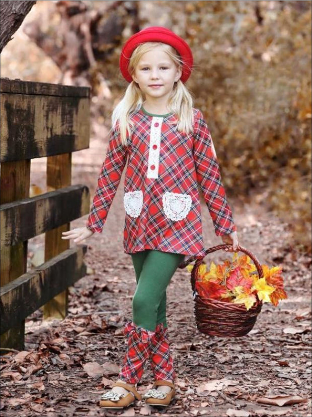 Girls Red & Green Placket Tunic with Contrast Cuff Leggings Set - Fall Low Stock