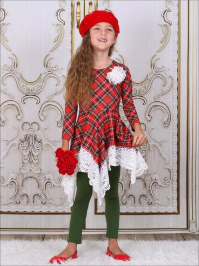 Girls Red & Green Plaid Crochet Trimmed Handkerchief Tunic & Leggings Set - Girls Fall Dressy Set