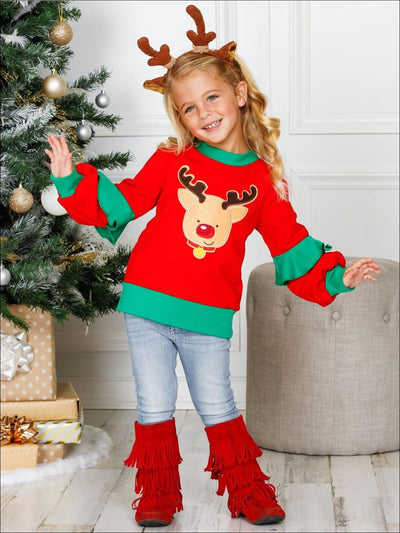 Girls Red & Green Rudolph Applique Ruffled Christmas Sweatshirt - Red / 2T/3T - Girls Sweater