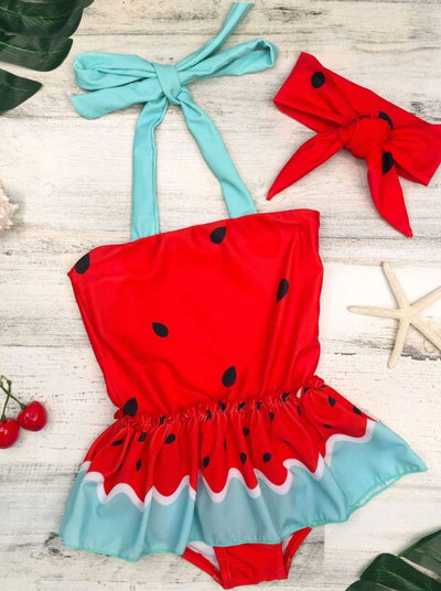 Girls Red Halter Watermelon Skirted One Piece Swimsuit with Matching Headband - Girls One Piece Swimsuit