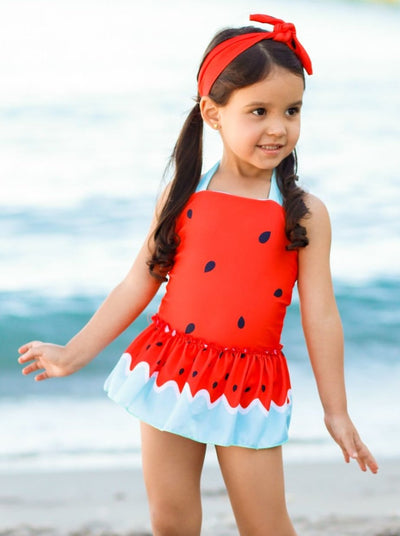 Girls Red Halter Watermelon Skirted One Piece Swimsuit with Matching Headband - Red / 2T/3T - Girls One Piece Swimsuit
