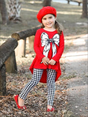 Girls Red Hi-Lo Lace Tunic & Houndstooth Leggings Set with Bow Applique - Girls Fall Casual Set