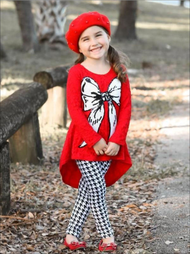 Girls Red Hi-Lo Lace Tunic & Houndstooth Leggings Set with Bow Applique - 2T/3T / Red - Girls Fall Casual Set