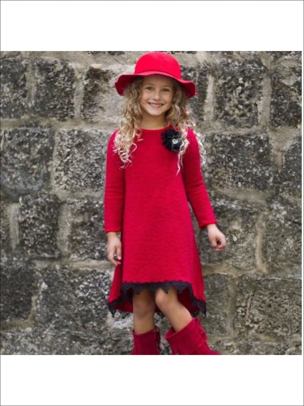 Girls Red Hi Low A-Line Sweater Dress - Red / 2T - Fall Low Stock