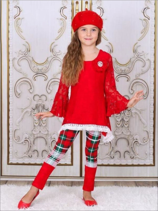Girls Red Lace Boho Ruffled Sleeve Tunic with Cuffed Plaid Leggings Set - Girls Fall Dressy Set