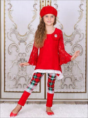 Girls Red Lace Boho Ruffled Sleeve Tunic with Cuffed Plaid Leggings Set - Red/Green/Plaid / 2T/3T - Girls Fall Dressy Set