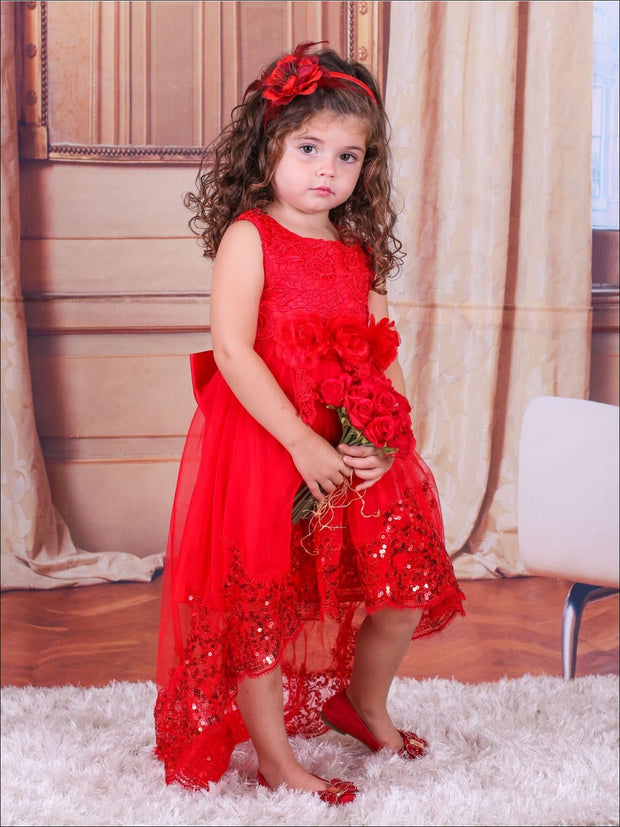 Girls Red Lace Christmas Hi-Lo Party Dress - Girls Fall Dressy Dress