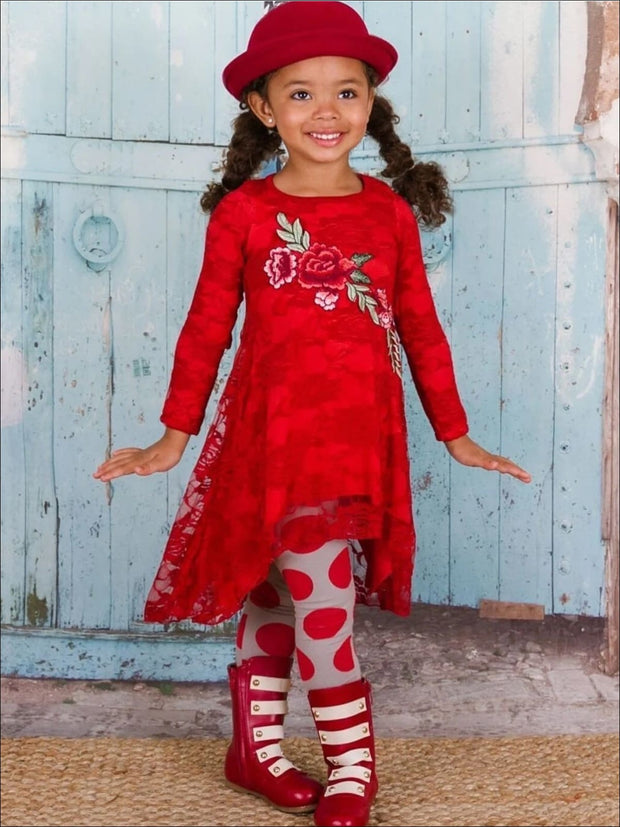 Girls Red Lace Hi-Lo Tunic and Printed Leggings Set - Girls Fall Casual Set
