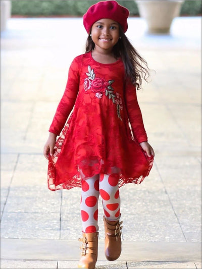 Girls Red Lace Hi-Lo Tunic and Printed Leggings Set - Taupe/Red / 2T/3T - Girls Fall Casual Set