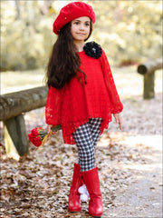 Girls Red Lace Long Sleeve Hi-Lo Tunic & Plaid Leggings Set - Girls Fall Casual Set