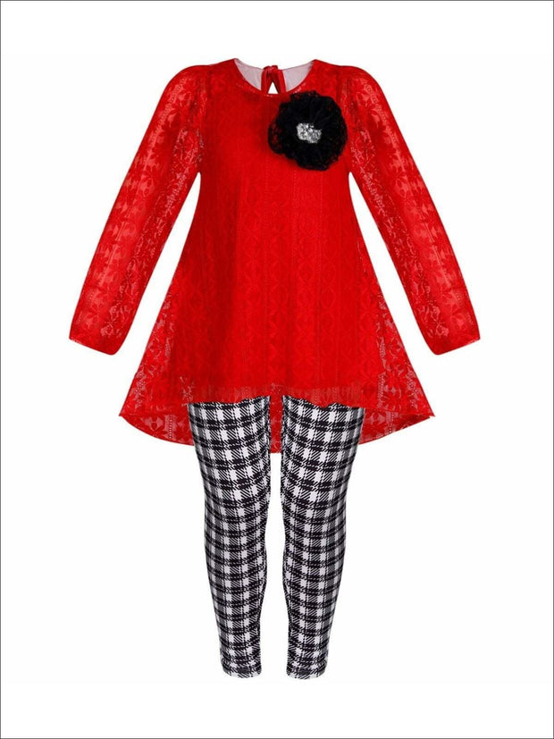 Girls Red Lace Long Sleeve Hi-Lo Tunic & Plaid Leggings Set - Red / 2T/3T - Girls Fall Casual Set