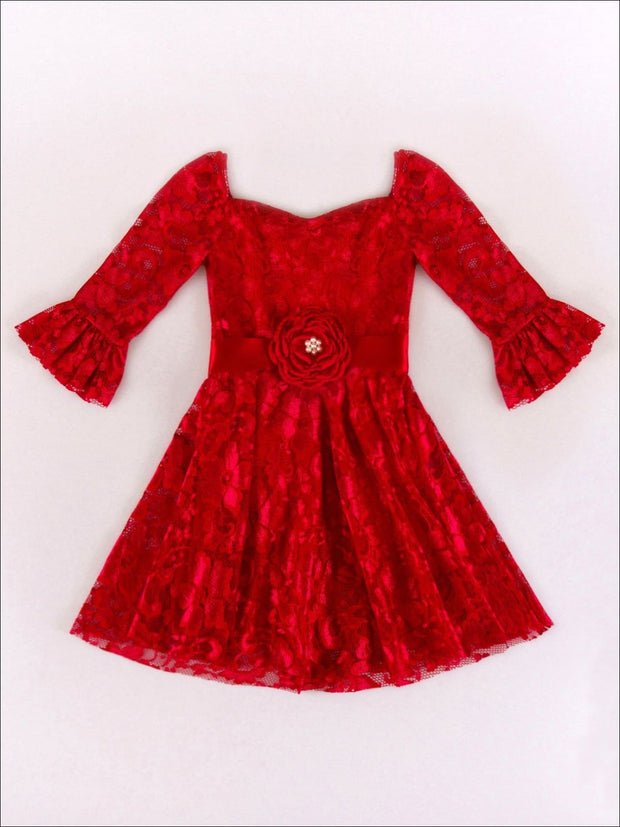 Girls Red Lace Rosette A-Line Dress