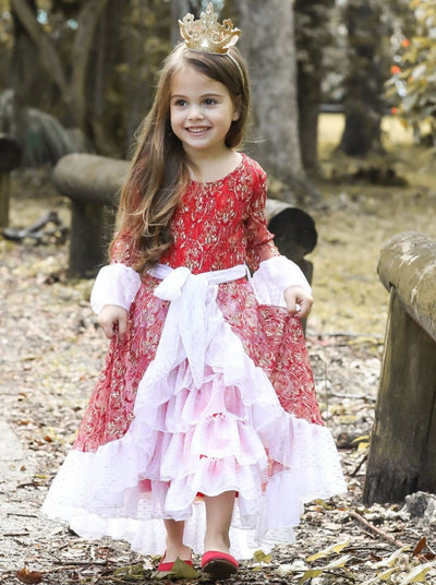 Girls Red Lace Vintage Princess Holiday Dress - 2T/3T / Red - Girls Fall Dressy Dress
