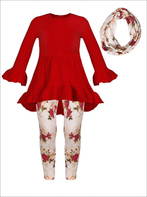 Girls Red Long Sleeve Ruffled Tunic Floral Leggings & Scarf Set - Girls Fall Casual Set