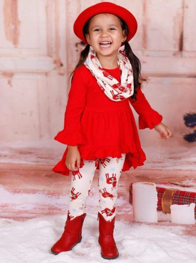 Girls Red Long Sleeve Ruffled Tunic Reindeer Leggings & Scarf Set - Girls Christmas Set