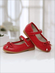 Girls Red Mary Jane Flats With Bow - Red / 1 - Girls Flats