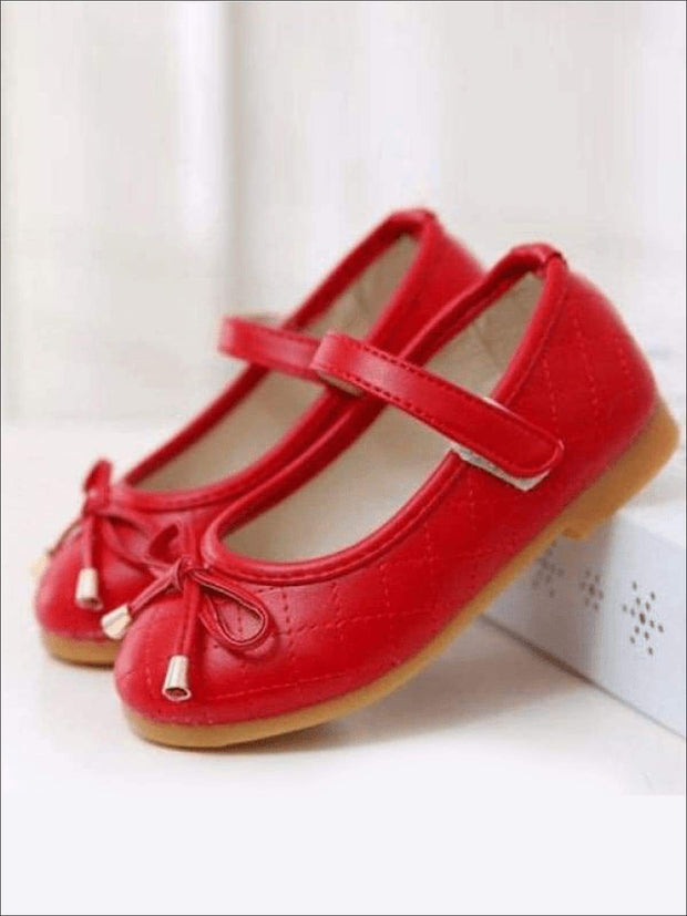 Girls Red Mary Jane Flats With Bow - Girls Flats