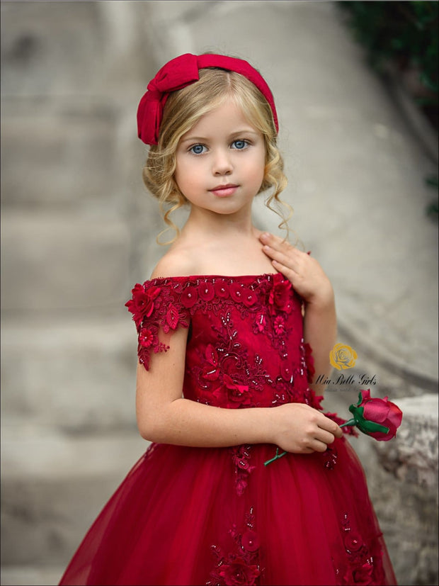 Girls Red Off Shoulder Floral Applique Hi-Low Dress with Long Train ( Red & Pink) - Girls Fall Dressy Dress