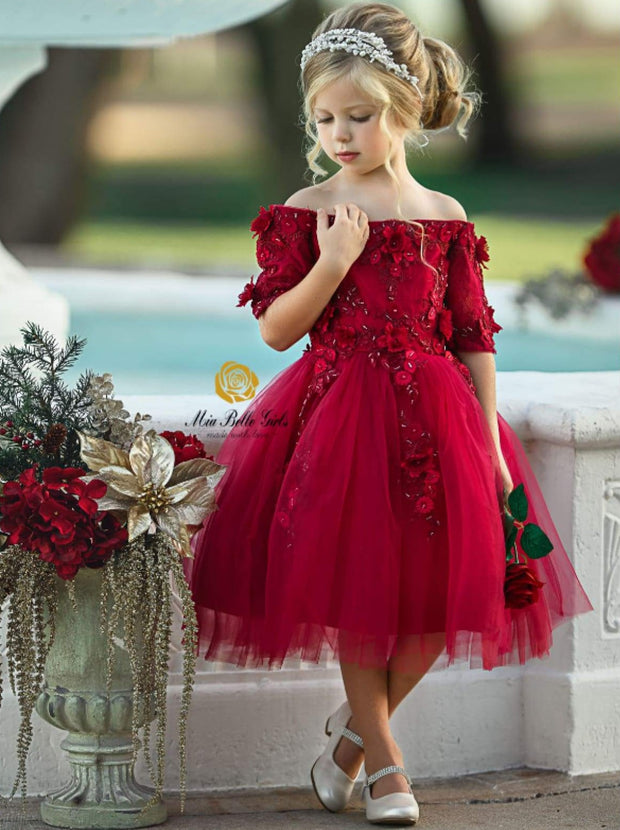 Girls Red Off Shoulder Floral Applique Holiday Special Occasion Dress - 12M / Red - Girls Fall Dressy Dress