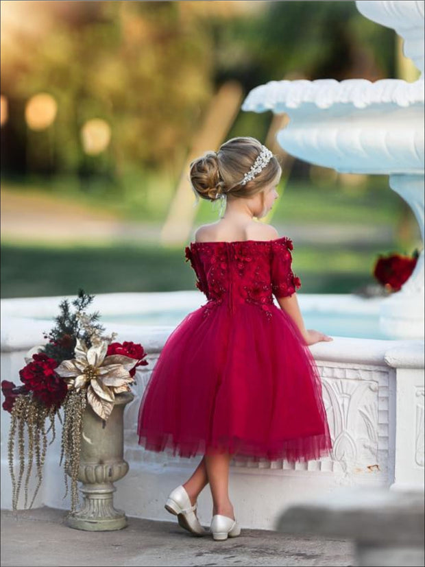 Girls Red Off Shoulder Floral Applique Holiday Special Occasion Dress - Girls Fall Dressy Dress