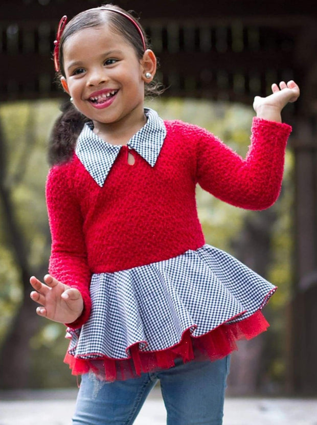 Girls Red Peplum Sweater Tunic - 2T/3T / Red - Girls Sweater